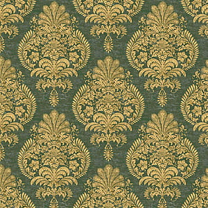 green and brown floral textile