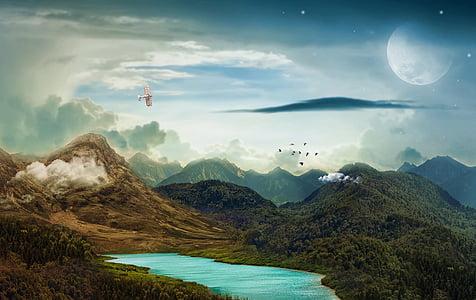 landscape photo of mountain under nimbus clouds
