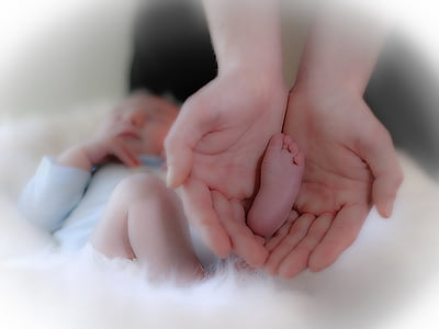 person holding baby foot