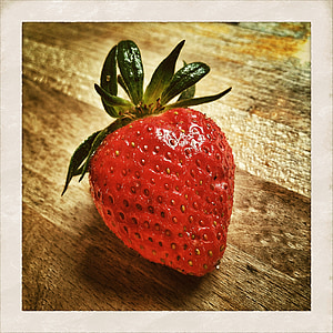 red strawberry illustration with white frame