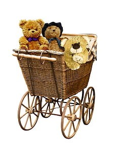 three brown bear plush toys in brown wicker bassinet