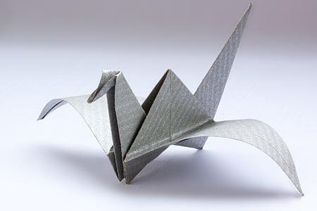 gray origami bird