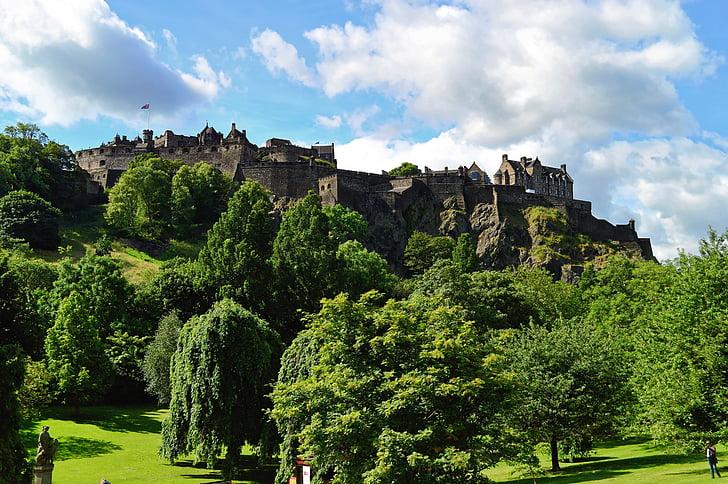 castle under cumulus cloud photograph