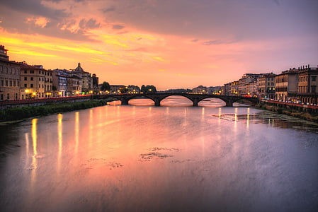 bridge landmark with orange sky background