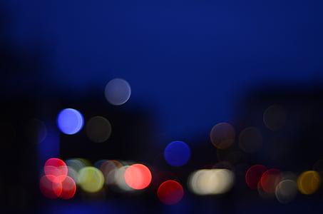 background, night, bokeh, blue, city, himmel