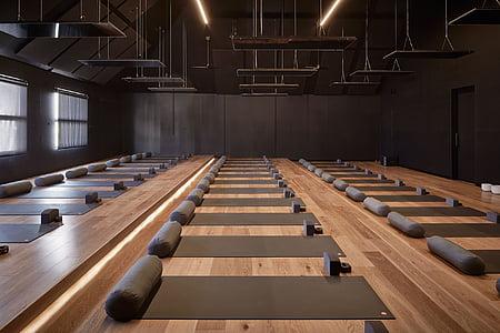yoga mats on parquet flooring