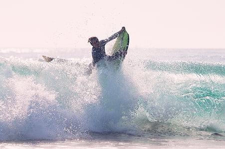photo of person surfboarding in water