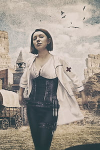 woman wearing white coat and black corset