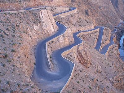 brown spiral road hill