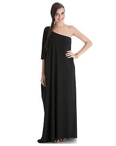 woman wearing black one-shoulder dress