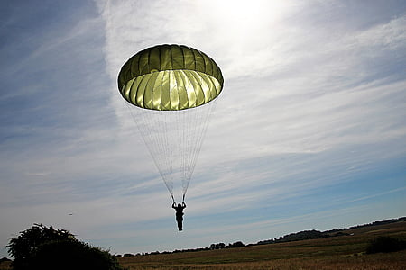 person parachuting on sky