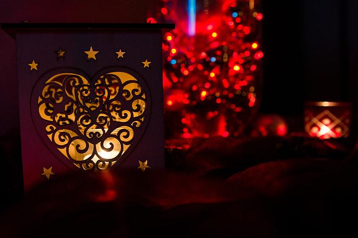 christmas, candlelight, christmas motif, advent, dark, romance