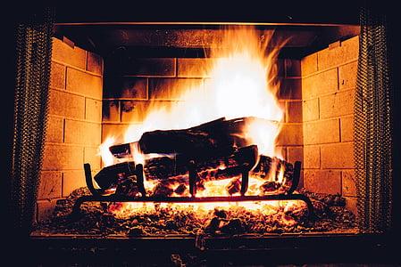 wood burning on fireplace