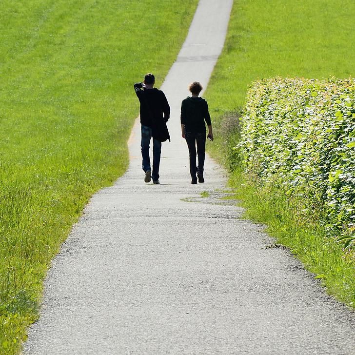 two people walking on path near green grass