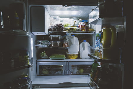 assorted food inside refrigerator
