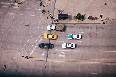 aerial photo of cars on stoplight during daytime