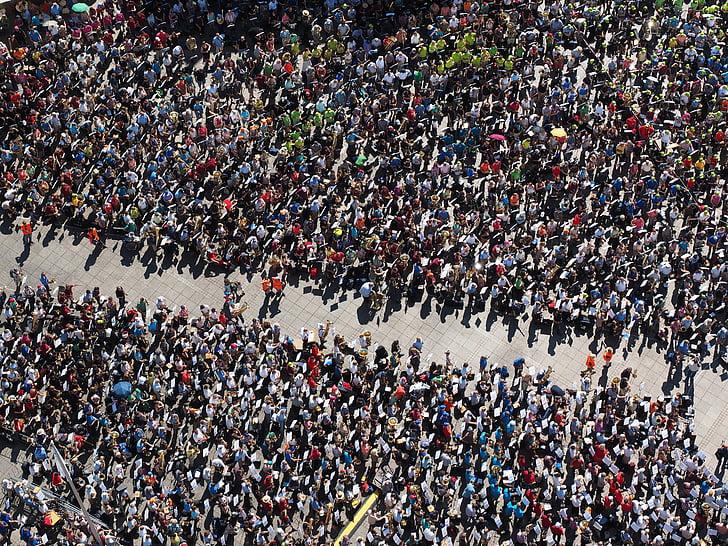Aerial Shot Of People