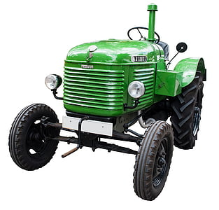 green and black tractor