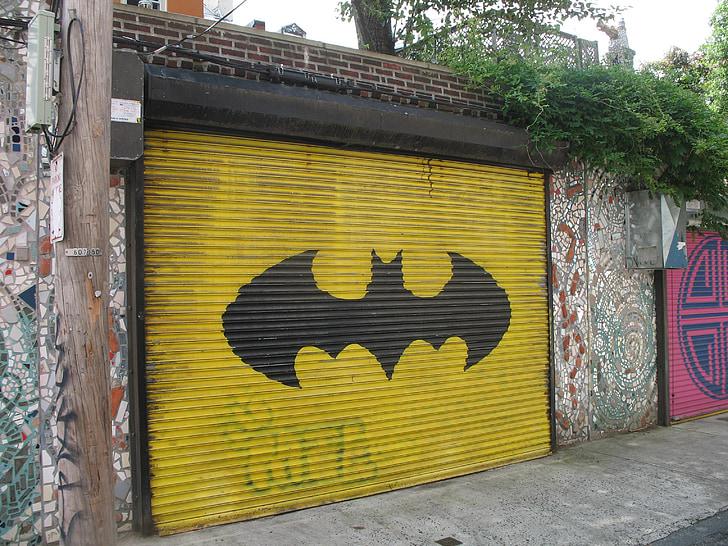 closed Batman printed roller shutter