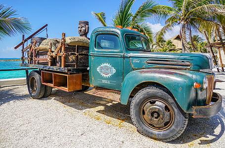 classic blue single cab truck parked beside seashore