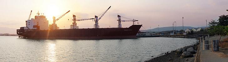 black and white cargo ship