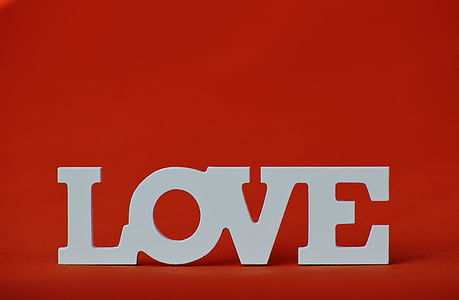 white love freestanding letters with red background