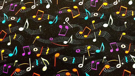 assorted-color musical notes wallpaper