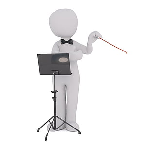 human figure standing in front of music stand