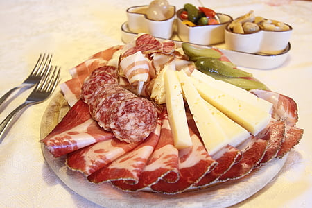 meat and cheese on a plate