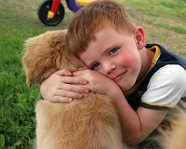 brown dog beside boy