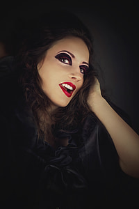 photo of woman face red lips