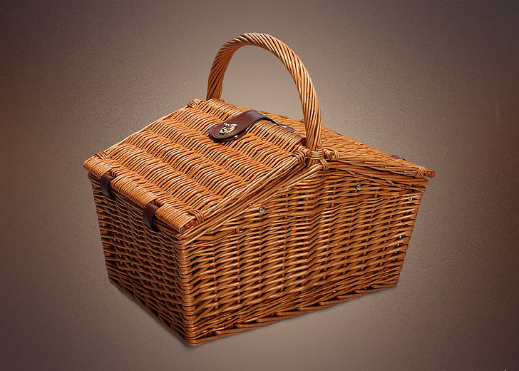 brown wicker picnic basket
