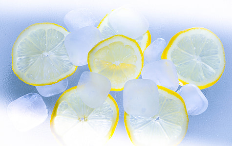sliced lemons and ice bloxks
