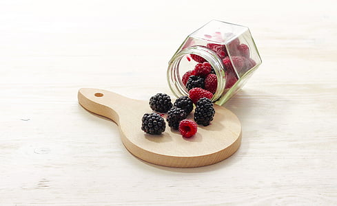 red raspberry and black cranberries