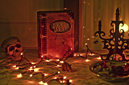 Hocus Pocus book surrounded with string lights