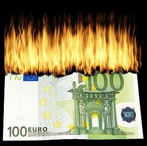 burning 100 Euro banknote illustration