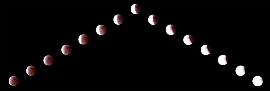 lunar eclipse, moon, night view