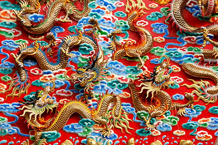 gold-colored dragon ornaments