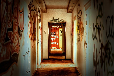 hallway with graffiti