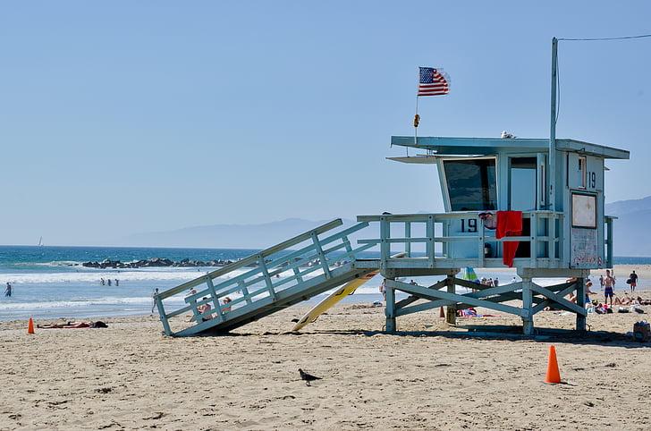 white beach watching station