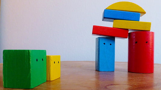 piled assorted-color block toys