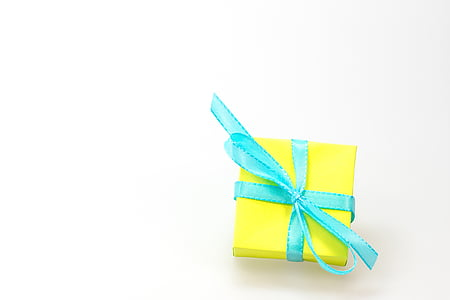yellow and blue gift box
