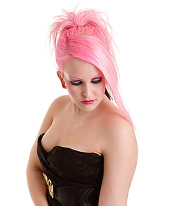 woman with pink hair and wearing tube top
