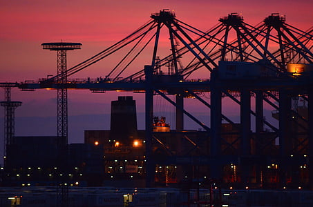 port, container port, industry, hafenanglage, sunset, sky