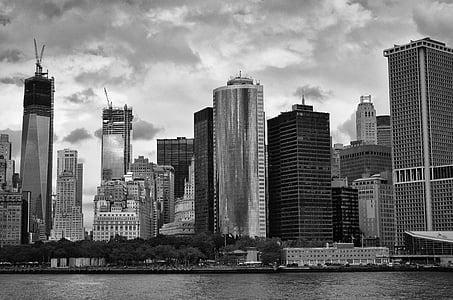 urban city grayscale photo