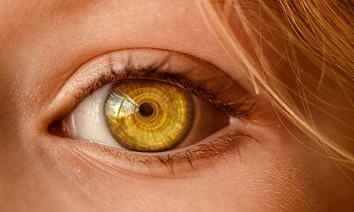person's yellow eye