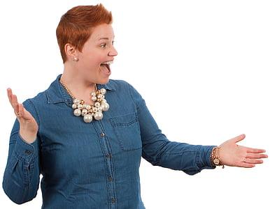 woman wearing teal button-up shirt