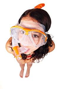clear plastic and orange snorkle