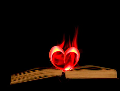 heart 3D LED lamp on book page