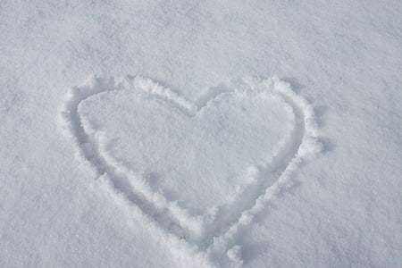 heart drawing on snowfield